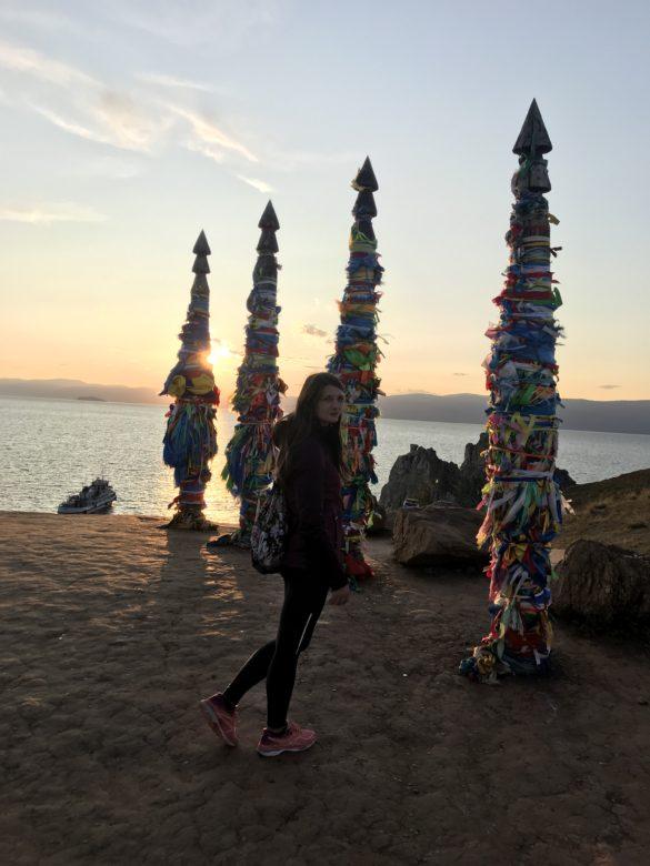 Shaman rock lake baikal sunset