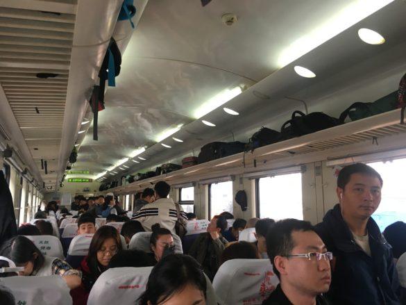 Hard seat train in China