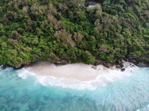 green bowl beach bali drone